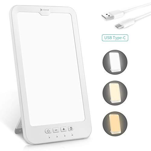 Tageslichtlampe 10000 lux, Hosome USB Typ-C 4 Timer mit Memoryfunktion Lichttherapielampe gegen Depressionen, 3 Lichtfarben Lichtdusche Lichtintensität einstellbar, LED Sonnenlicht, flimmer-, UV-frei
