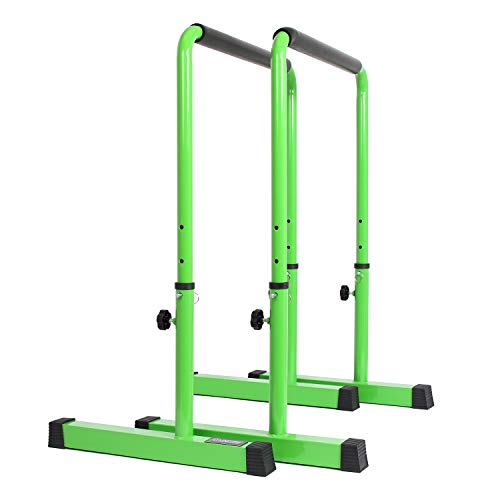 POWER GUIDANCE, Dip Barren, Dip Bar, Einstellbare Höhe 76cm - 98cm Ganzkörper-Krafttraining 3 Farben (Grün)