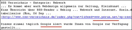 Google Alert und Perun.net