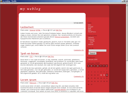 Rotes template für WP 1.2x