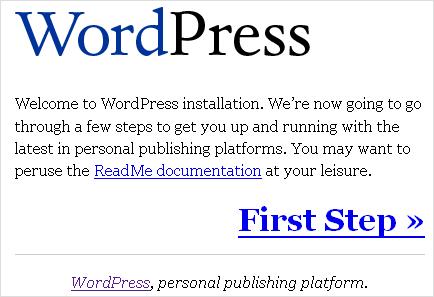 WP 1.5 Installation - Schritt 1