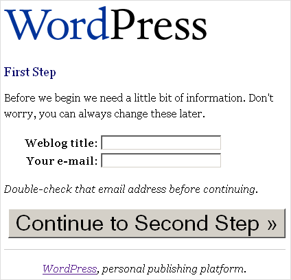 WP 1.5 Installation - Schritt 2