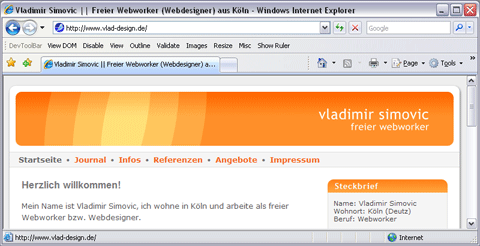 Test mit dem Internet Explorer 7
