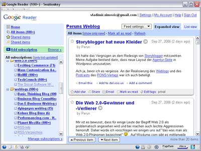 Google-Reader mit neuer Oberfläche