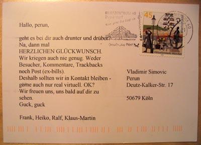 Weblog-Postkarte