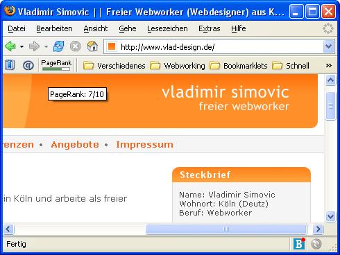 PageRank 7 für Vlad-Design.de