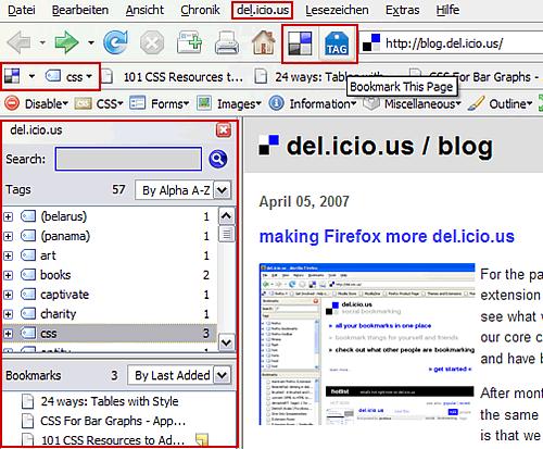 Die neue Bookmark-Erweiterung für Firefox
