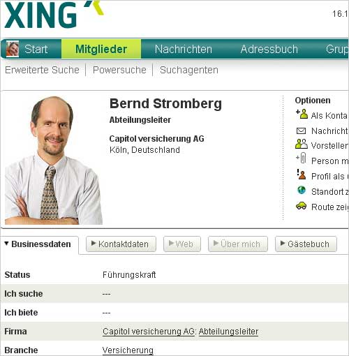 Bernd Stromberg auf Xing