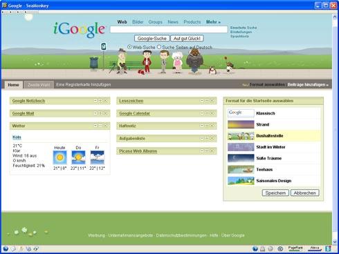 Verschiedene Designs für die Google-Startseite