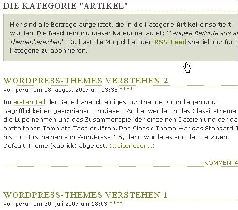 Die Kategorie-Übersicht