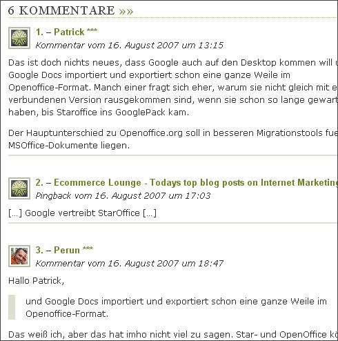 Die Auflistung der Kommentare (Ausschnitt)