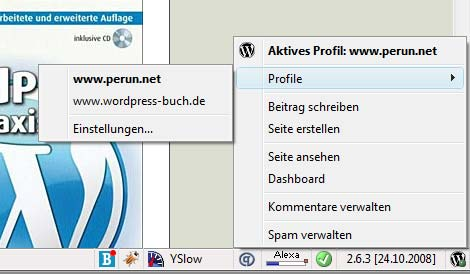 WordPress-Helper in der Statusleiste