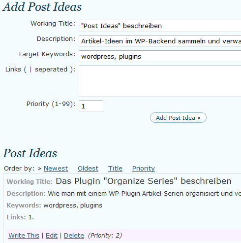 Post Ideas: Artikel-Ideen im WordPress-Backend sammeln