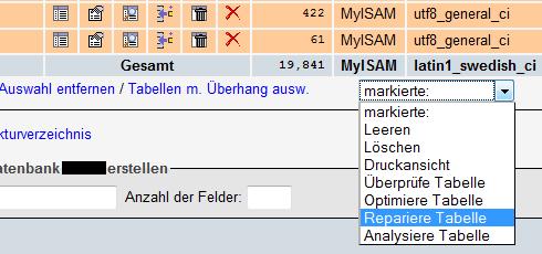 PHPMyAdmin: Tabellen reparieren