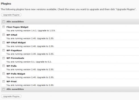 Mehrer Plugins gleichzeitig updaten