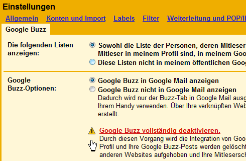 Google Buzz deaktivieren