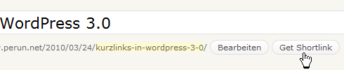 WordPress: Kurzlink holen