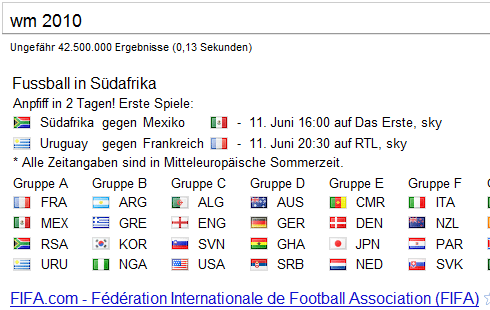 Google: WM 2010