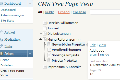 Wordpress-Plugin: CMS Tree Page View