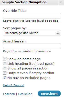 WordPress: Simple Section Navigation Widget