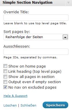 WordPress: Simple Section Navigation Widget