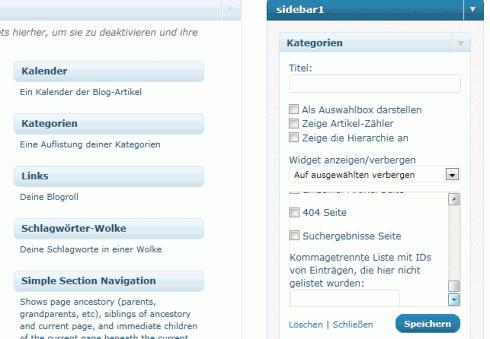WordPress: Display Widgets