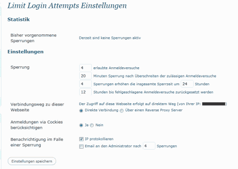 WordPress: Einstellungen von Limit Login Attempts