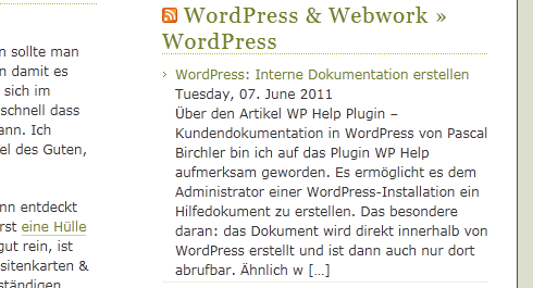 WordPress: RSS-Widget in der Sidebar