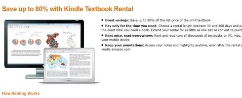 Amazon Kindle: Schul- und Lehrbücher ausleihen (Screenshot Website)