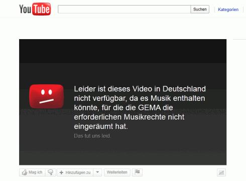 Gesperrtes Video auf YouTube