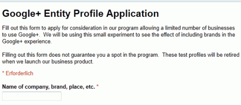 Google+: Bewerbung für eine Firmen-Seite