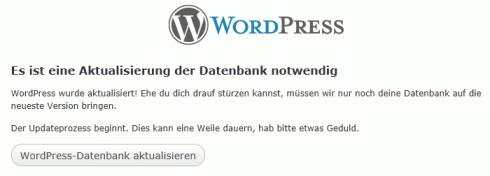 WordPress: Datenbank Aktualisieren