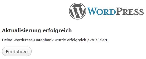 WordPress: Datenbank aktualisiert