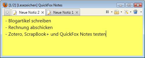 Notizzettel für Firefox