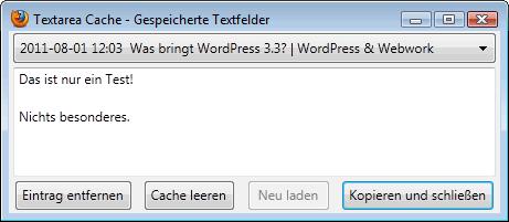 Mozilla Firefox: Textarea Cache im Einsatz
