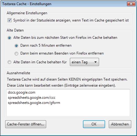 Firefox: Einstellungen von Textarea Cache