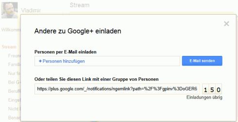 Einladung für Google+ per Link
