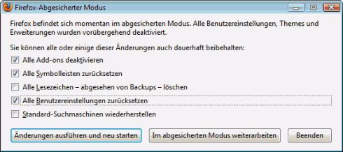 Mozilla Firefox reparieren