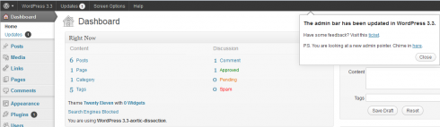 WordPress: admin pointer