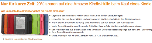 Amazon Kindle: 20% Nachlass auf Lederhüllen