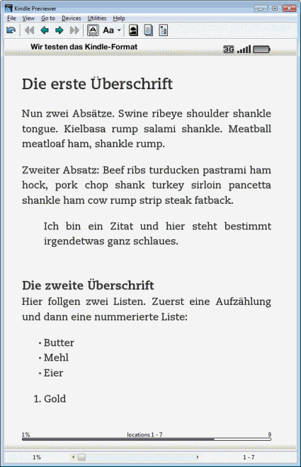 Kindle-Test-Datei mit indviduellen CSS-Regeln