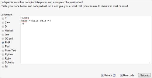 codepad: PHP-Code testen