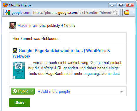 Google+ Bookmarklet