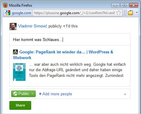 Google+ Bookmarklet