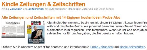 Zeitungen und Zeitschriften für Amazon Kindle