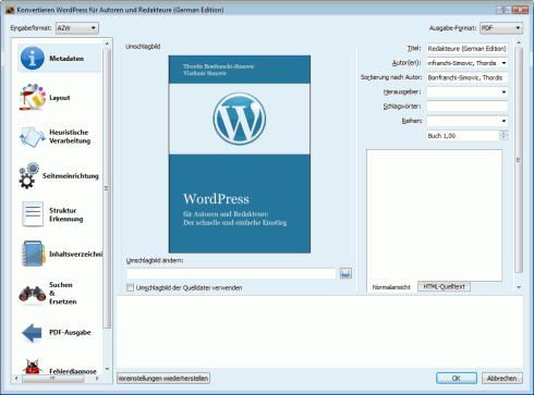 calibre: Kindle-E-Book in PDF konvertieren