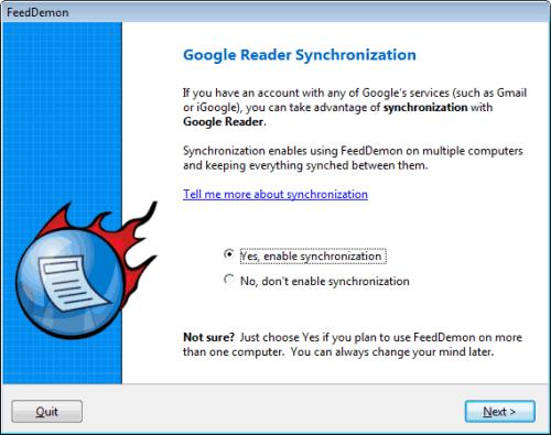 FeedDemon: Synchronisation mit dem Google Reader aktivieren