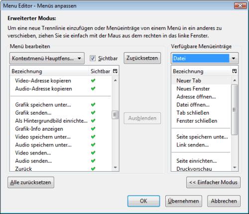 Kontextmenü in Mozilla Firefox anpassen