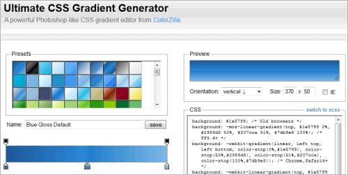 Komfortabler Generator für Farbverläufe in CSS3