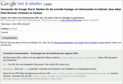 Der Reader (Leser) für Google Text und Tabellen